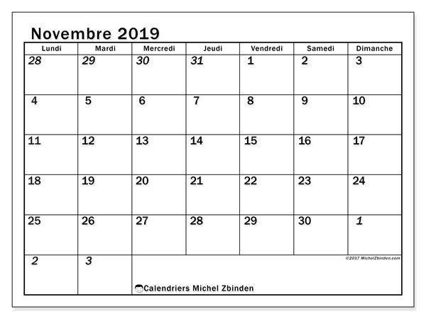 Calendrier novembre 2019, 66LD. Calendrier pour le mois à imprimer gratuit.