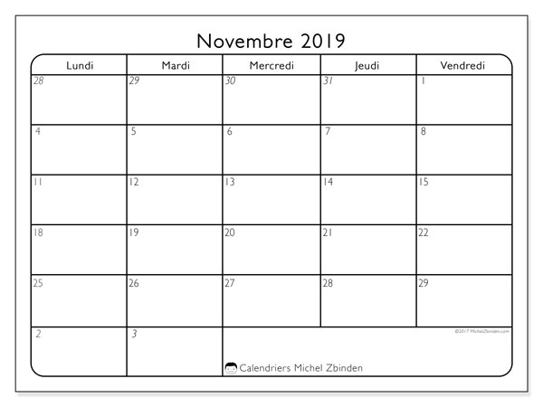 Calendrier novembre 2019, 74LD. Calendrier mensuel à imprimer gratuit.