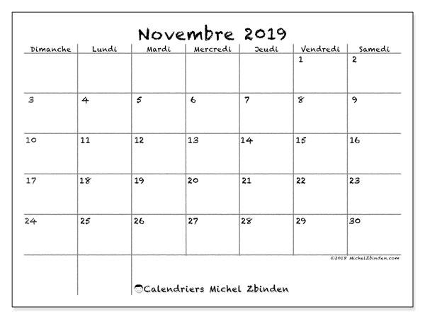 Calendrier novembre 2019, 77DS. Calendrier pour le mois à imprimer gratuit.