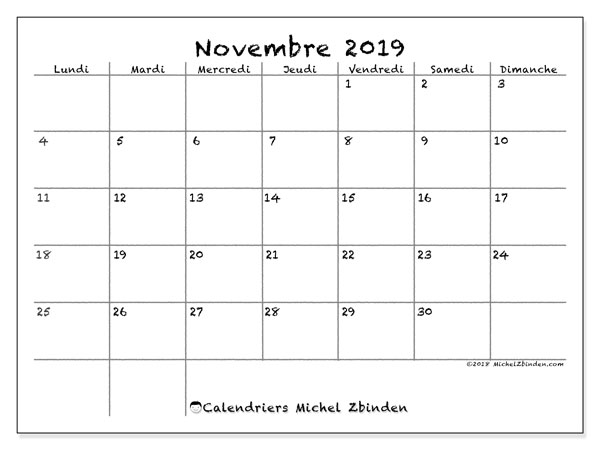 Calendrier novembre 2019, 77LD. Calendrier imprimable gratuit.