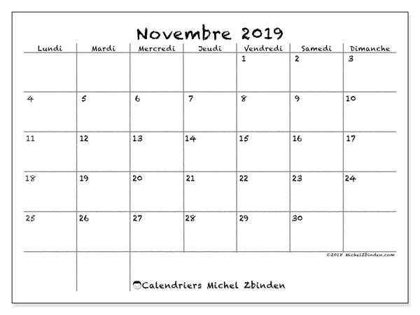 Calendrier A Imprimer Novembre 2019.Calendrier Novembre 2019 77ld Michel Zbinden Fr