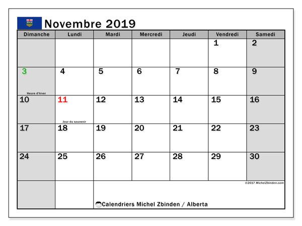 Calendrier novembre 2019, avec les jours fériés de l'Alberta. Calendrier à imprimer gratuit.