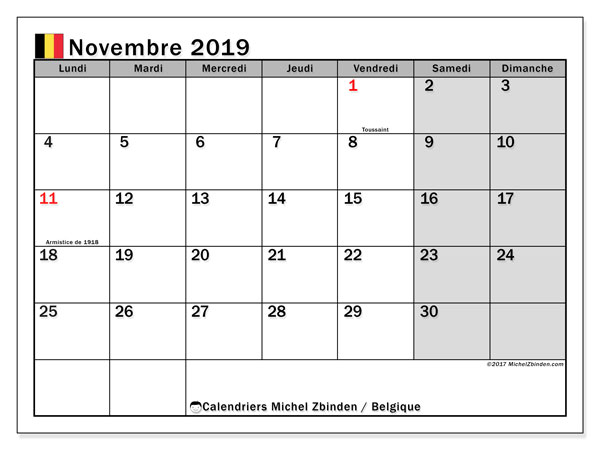 Calendrier novembre 2019, avec les jours fériés de la Belgique. Calendrier à imprimer gratuit.