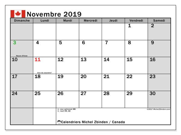Calendrier novembre 2019, avec les jours fériés de le Canada. Calendrier Fêtes et jours fériés à imprimer gratuit.