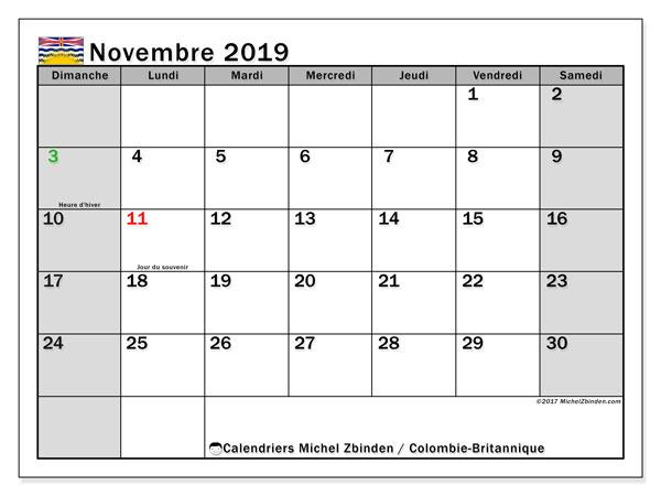 Calendrier novembre 2019, avec les jours fériés de la Colombie-Britannique. Calendrier imprimable gratuit.