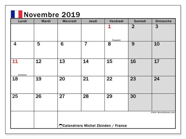 Calendrier novembre 2019 - France. Calendrier à imprimer : jours fériés officiels.
