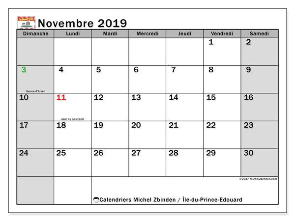 Calendrier novembre 2019, avec les jours fériés de l'Île-du-Prince-Edouard. Planificateur à imprimer gratuit.