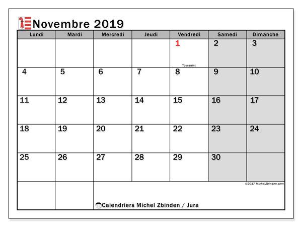 Calendrier novembre 2019, avec les jours fériés du Canton du Jura. Calendrier Fêtes et jours fériés à imprimer gratuit.