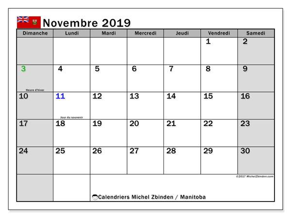 Calendrier novembre 2019, avec les jours fériés du Manitoba. Calendrier à imprimer gratuit.