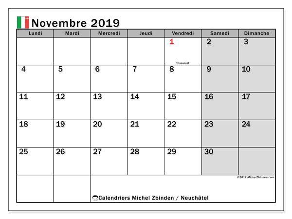 Calendrier novembre 2019, avec les jours fériés du Canton de Neuchâtel. Calendrier à imprimer gratuit avec jours fériés.