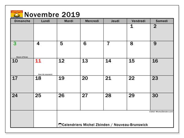 Calendrier novembre 2019, avec les jours fériés du Nouveau-Brunswick. Calendrier à imprimer gratuit avec jours fériés.