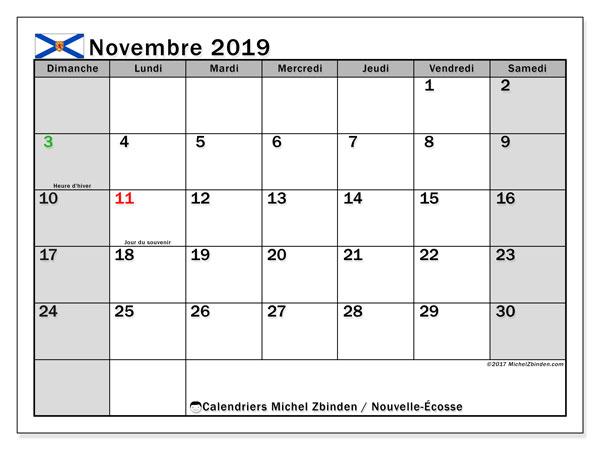 Calendrier novembre 2019, avec les jours fériés de la Nouvelle-Écosse. Calendrier gratuit à imprimer.