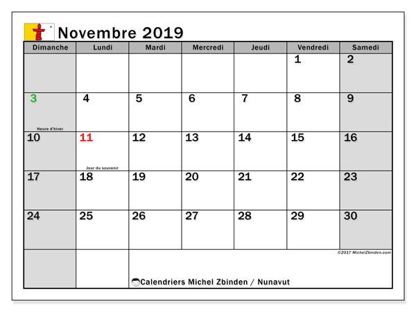 Calendrier novembre 2019 - Nunavut. Calendrier à imprimer : jours fériés officiels.