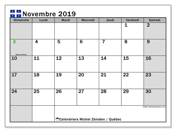 Calendrier novembre 2019, avec les jours fériés du Québec. Calendrier à imprimer gratuit avec jours fériés.