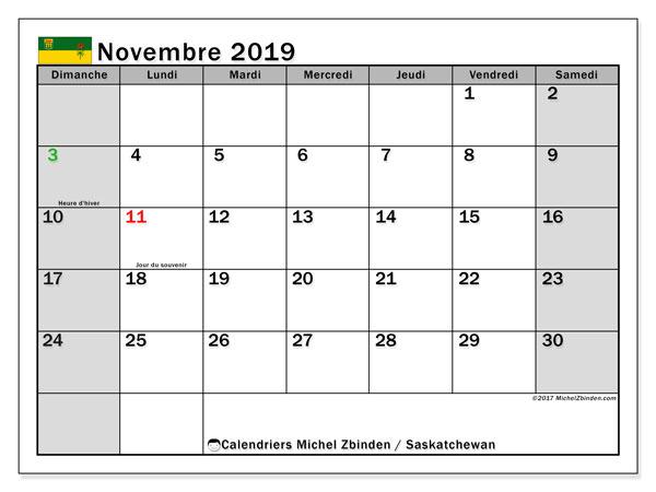 Calendrier novembre 2019, avec les jours fériés de la Saskatchewan. Calendrier à imprimer gratuit avec jours fériés.