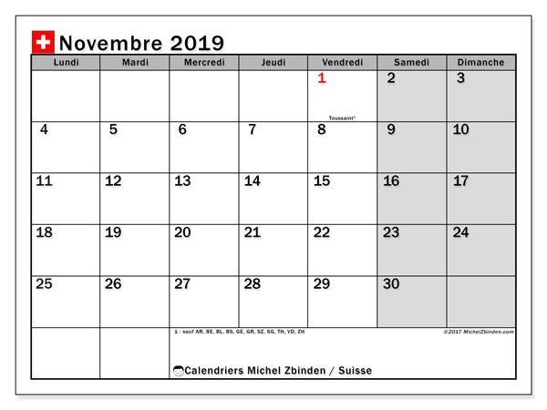 Calendrier novembre 2019, avec les jours fériés de la Suisse. Calendrier Fêtes et jours fériés à imprimer gratuit.