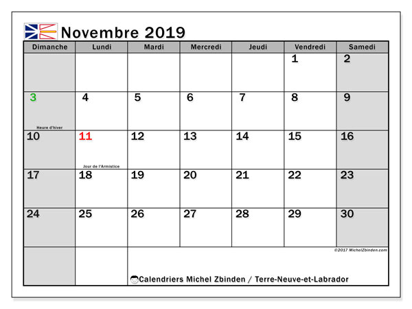 Calendrier novembre 2019, avec les jours fériés de Terre-Neuve-et-Labrador. Organisateur à imprimer gratuit.