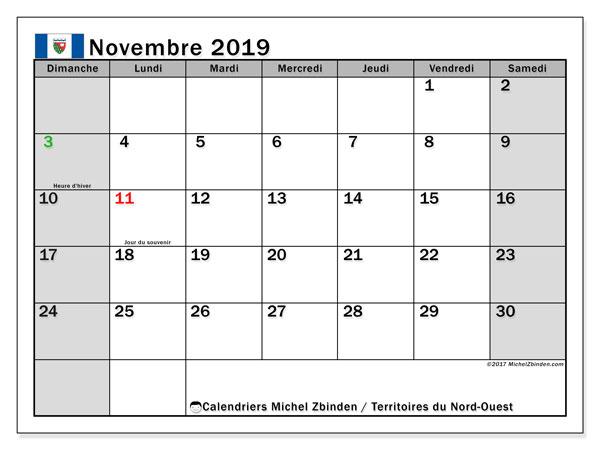 Calendrier novembre 2019, avec les jours fériés des Territoires-du-Nord-Ouest. Calendrier à imprimer gratuit avec jours fériés.