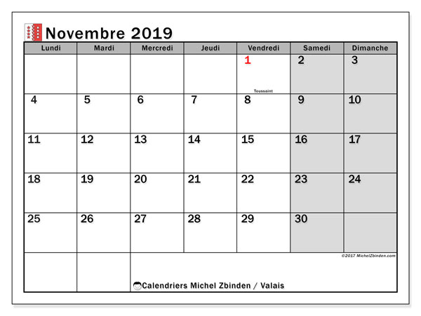 Calendrier novembre 2019, avec les jours fériés du Canton du Valais. Planificateur à imprimer gratuit.