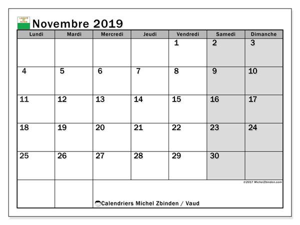 Calendrier novembre 2019, avec les jours fériés du Canton de Vaud. Organisateur à imprimer gratuit.