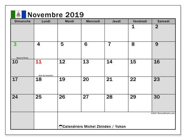 Calendrier novembre 2019, avec les jours fériés du Yukon. Planificateur à imprimer gratuit.