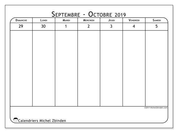 Calendrier octobre 2019 (43-1DS).