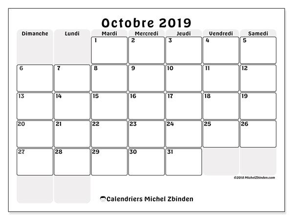 Calendrier octobre 2019 (44DS).