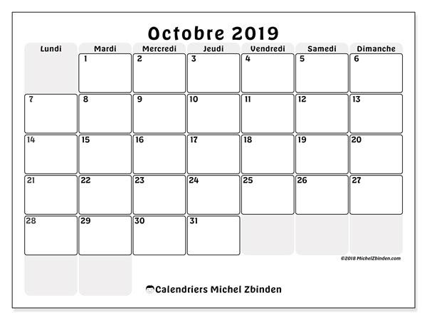 Octobre Calendrier 2019.Calendrier Octobre 2019 44ld Michel Zbinden Fr