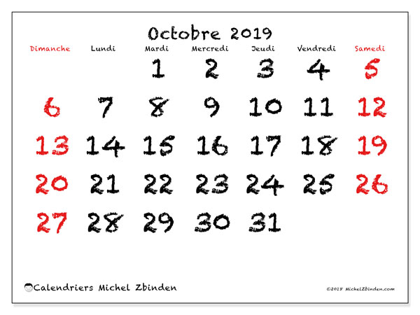 Calendriers octobre 2019 (DS).  46DS.