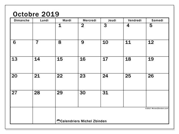 Calendrier octobre 2019 (50DS).