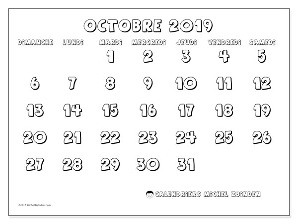 Calendrier octobre 2019 (56DS).
