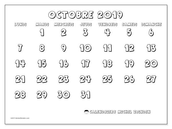 Calendrier octobre 2019, 56LD. Planificateur à imprimer gratuit.