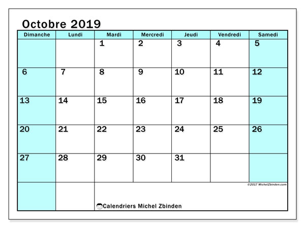 Calendrier octobre 2019 (59DS).