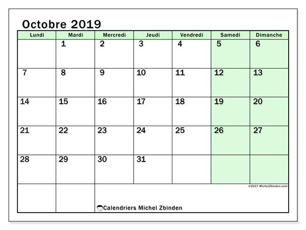 Calendrier octobre 2019, 60LD. Planificateur à imprimer gratuit.