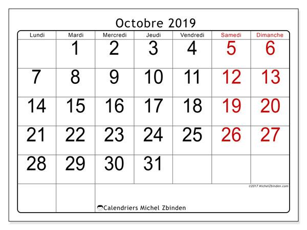 Calendrier octobre 2019, 62LD. Calendrier pour le mois à imprimer gratuit.