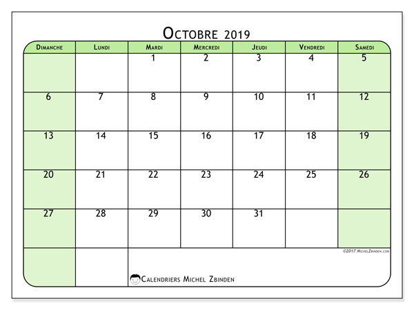Calendrier octobre 2019 (65DS).