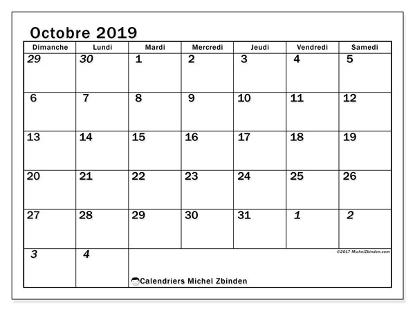 Calendrier octobre 2019 (66DS).