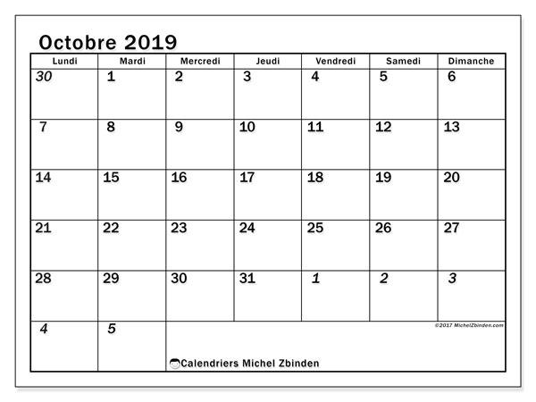 Calendrier octobre 2019, 66LD. Calendrier gratuit à imprimer.