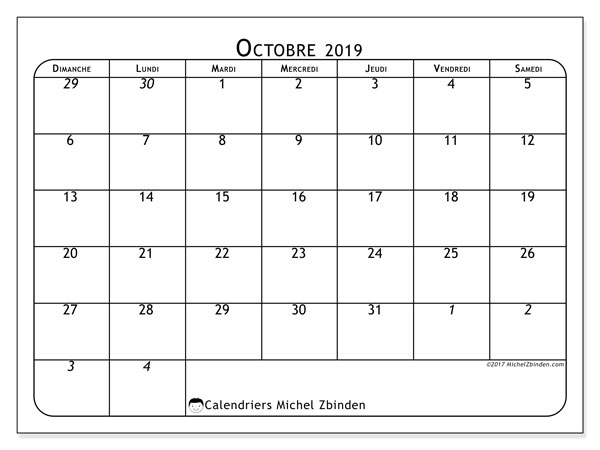 Calendrier octobre 2019 (67DS).
