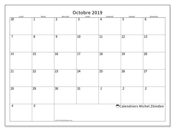 Calendrier  octobre 2019, 70LD