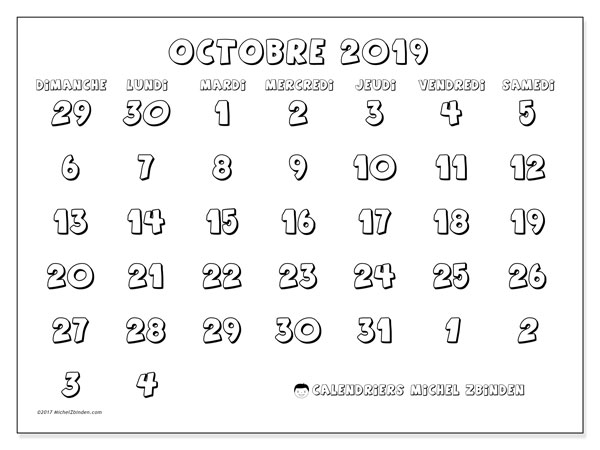 Calendrier octobre 2019 (71DS).