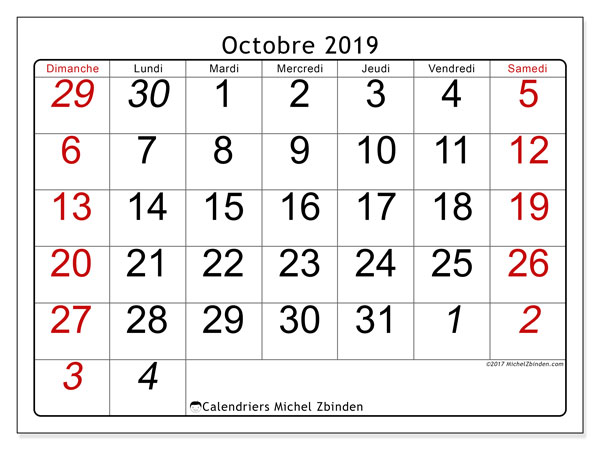 Calendrier octobre 2019 (72DS).