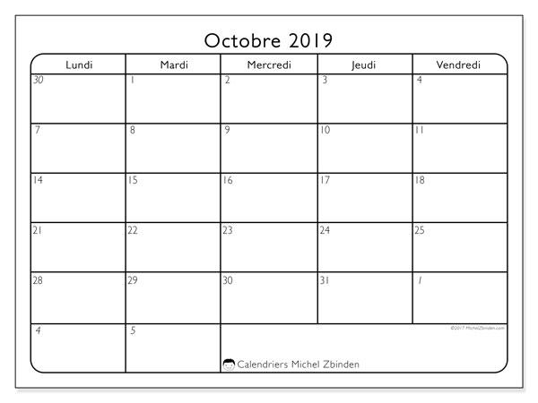 Calendrier octobre 2019, 74DS. Calendrier pour le mois à imprimer gratuit.