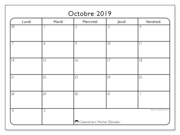 Calendrier octobre 2019 (74DS).