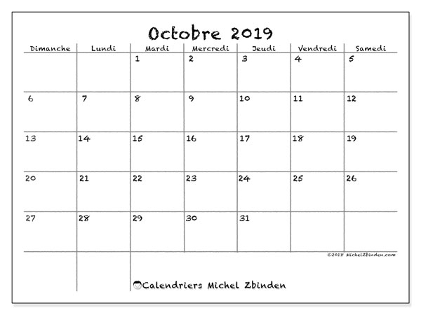 Calendrier octobre 2019 (77DS).