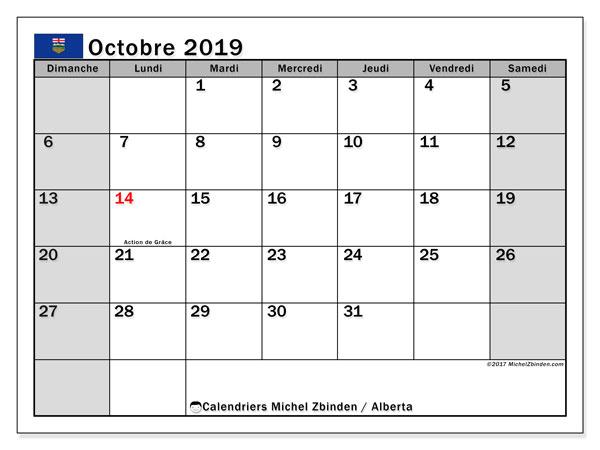 Calendrier octobre 2019, avec les jours fériés de l'Alberta. Calendrier à imprimer gratuit avec jours fériés.