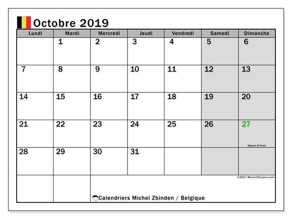 Calendrier octobre 2019, avec les jours fériés de la Belgique. Calendrier à imprimer gratuit.