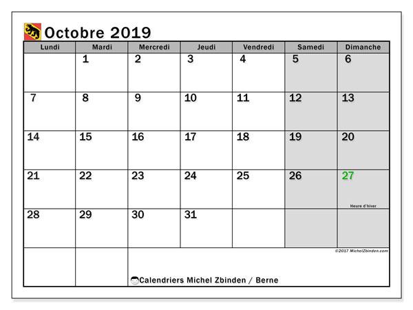 Calendrier octobre 2019, avec les jours fériés du Canton de Berne. Calendrier à imprimer gratuit avec jours fériés.