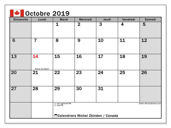 Calendrier octobre 2019, avec les jours fériés du Canada. Planificateur à imprimer gratuit.