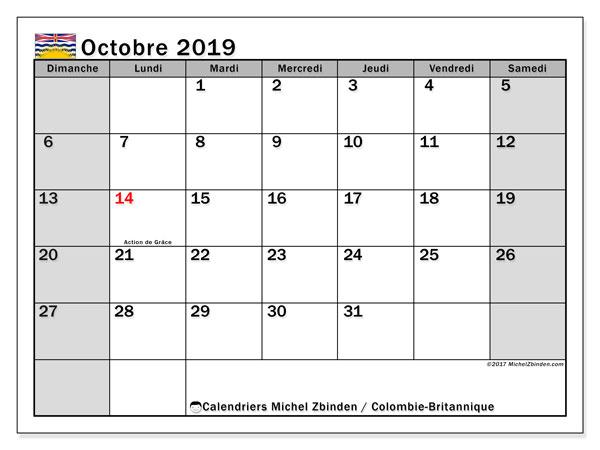 Calendrier octobre 2019, avec les jours fériés de la Colombie-Britannique. Calendrier à imprimer gratuit avec jours fériés.
